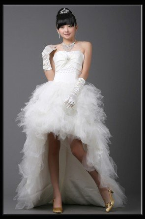Custom Made- Rhinestone Embellished Irregual Hem Wedding Dress Cocktail Bridesmaid Ball Prom Gown S6