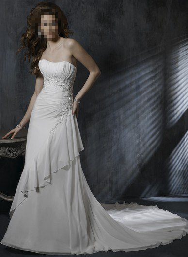 Custom Made- Beads Embellished Strapless Pleated Wedding Dress Cocktail Bridesmaid Ball Prom Gown Q1