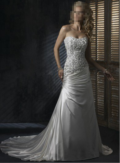 Custom Made- Beads Embellished Strapless Sexy Wedding Dress Cocktail Bridesmaid Ball Prom Gown Q3