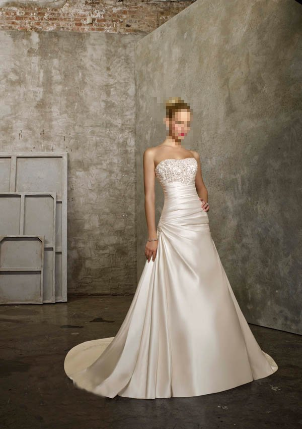 Custom Made- Beads Embellished Strapless Sexy Wedding Dress Cocktail Bridesmaid Ball Prom Gown Q4