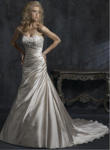 Custom Made- Beads Embellished Strapless Sexy Wedding Dress Cocktail Bridesmaid Ball Prom Gown Q8