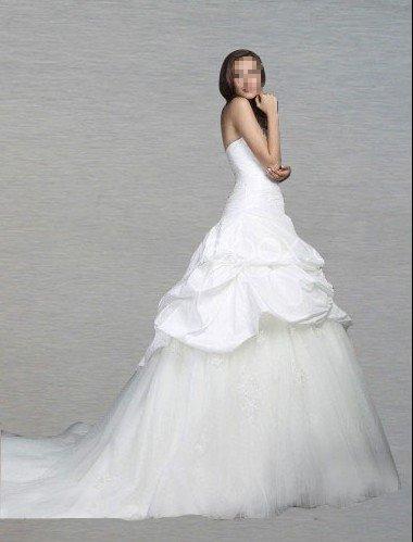 Custom Made- Chapel Train Drawstring sleeveless Wedding Bride Dress Cocktail Bridesmaid Ball Prom Y