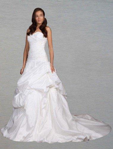Custom Made- Chapel Train Off Shoulder Bubble Wedding Bride Dress Cocktail Bridesmaid Ball Prom Y