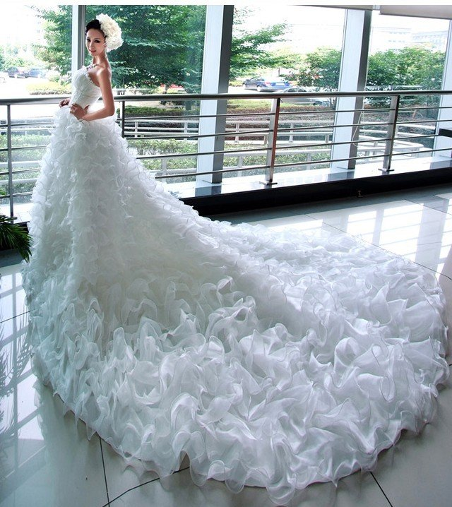 Custom Made- Charming Lace Strapless Tailing Wedding Bride Dress Cocktail Bridesmaid Ball Prom Y