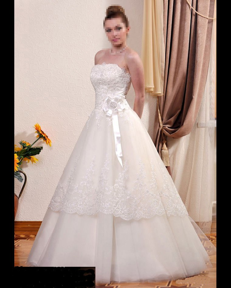 Custom Made- Floral Embellished Strapless Sexy Wedding Bride Dress Cocktail Bridesmaid Ball Prom Y