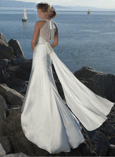 Custom Made- Deep V-Neck Pleated Halter Sexy Wedding Bride Dress Cocktail Bridesmaid Ball Prom Y