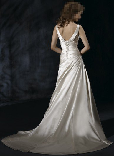 Custom Made- Deep V-Neck Pleated Halter Sexy Wedding Bride Dress Cocktail Bridesmaid Ball Prom Y2