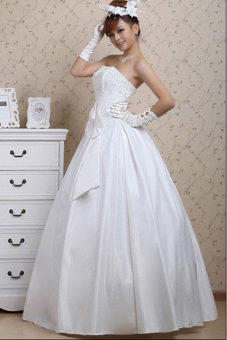 Custom Made- Drawstring Back Sleeveless Bowknot Wedding Bride Dress Cocktail Bridesmaid Ball Prom