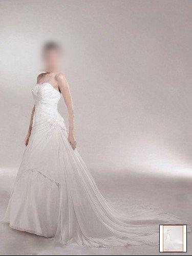 Custom Made- Drawstring Back Strapless Court Train Wedding Bride Dress Cocktail Bridesmaid Ball Prom