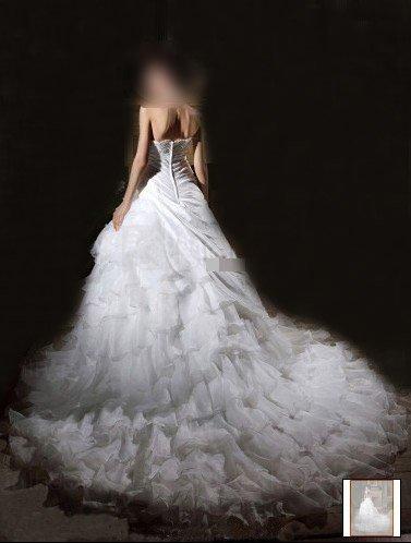Custom Made- Elegant Bead Embroidery Chapel Train Wedding Bride Dress Cocktail Bridesmaid Ball Prom