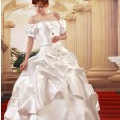 Custom Made- Elegant Bowknot Pleated Short Sleeve Wedding Bride Dress Cocktail Bridesmaid Ball Prom