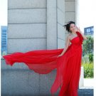 Custom Made- Elegant Flower One Shoulder Red Wedding Bride Dress Cocktail Bridesmaid Ball Prom
