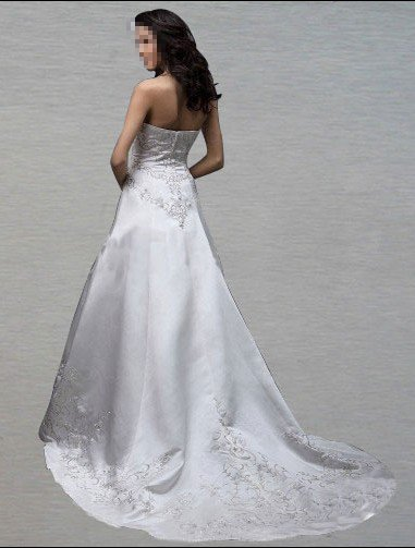 Custom Made- Embroidery Floor-Length Sleeveless Wedding Bride Dress Cocktail Bridesmaid Ball