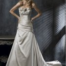 Custom Made- Flower Embellish Pleat Strapless Wedding Bride Dress Cocktail Bridesmaid Ball Prom S6