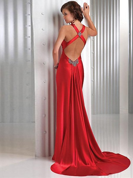 Elegant Red Cross Neck Straps Floor Length V Neck Evening Gown Bridesmaid Wedding
