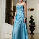 2011 Elegant Blue Strapless Long Formal Evening Dress Bridesmaid Wedding