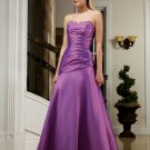 Elegant Purple Strapless Beads Pleated Evening Dress Bridesmaid Wedding