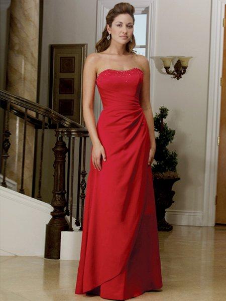 Elegant Red Strapless A Line Evening Dress Prom Bridesmaid Wedding