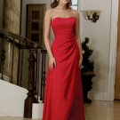 Elegant Red Strapless A Line Evening Dress Prom Bridesmaid Wedding
