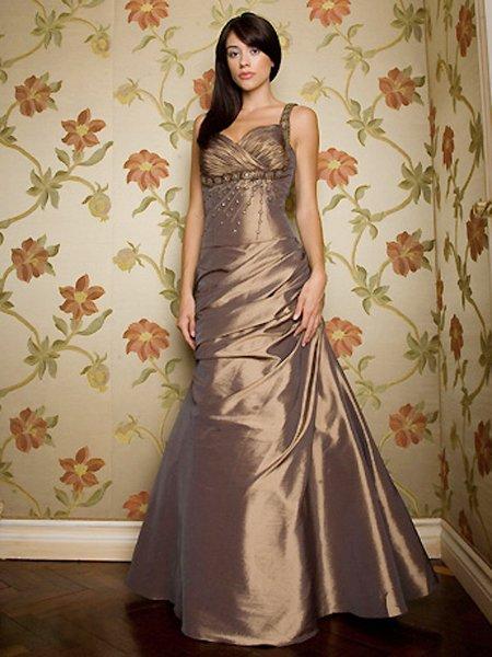 Elegant Brown Spaghetti Straps Beadings Evening Dress Prom Bridesmaid Wedding