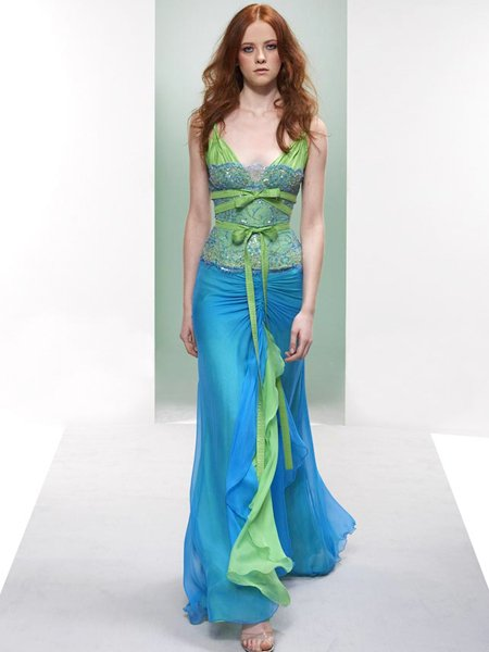 Celebrity Elegant Blue And Green V Neck Evening Dress Prom Bridesmaid Wedding