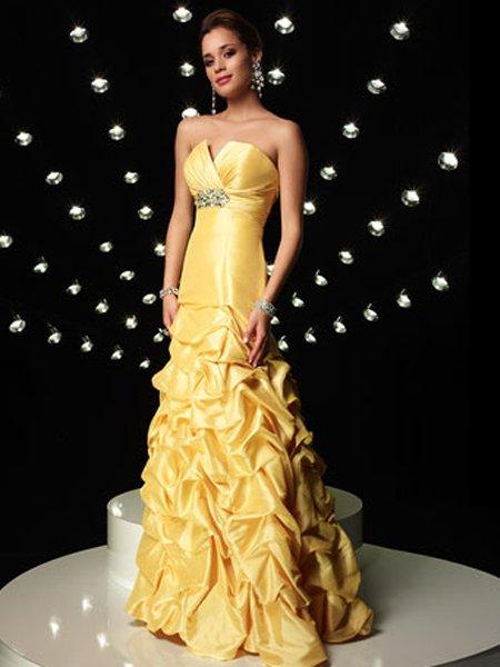 Elegant Yellow Strapless Beading Mermaid Evening Dress Prom Bridesmaid Wedding