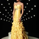 Elegant Yellow Strapless Beading Mermaid Evening Dress Prom Bridesmaid Wedding