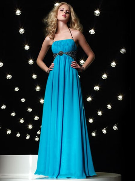 Elegant Halter Beading Empire Waist Evening Dress Prom Bridesmaid Wedding