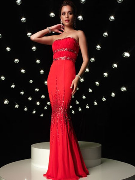 Red Strapless Rhinestone Empire Waist Mermaid Evening Dress Prom Bridesmaid Wedding