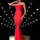 Red Strapless Rhinestone Empire Waist Mermaid Evening Dress Prom Bridesmaid Wedding