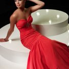 Formal Elegant Red Sweetheart Strapless Ruffles Beading Mermaid Ball Gown Prom Bridesmaid Wedding