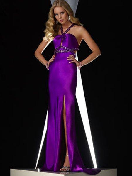 Elegant Purple Rhinestone Empire Waist Evening Dress Cocktail Prom Bridesmaid Wedding