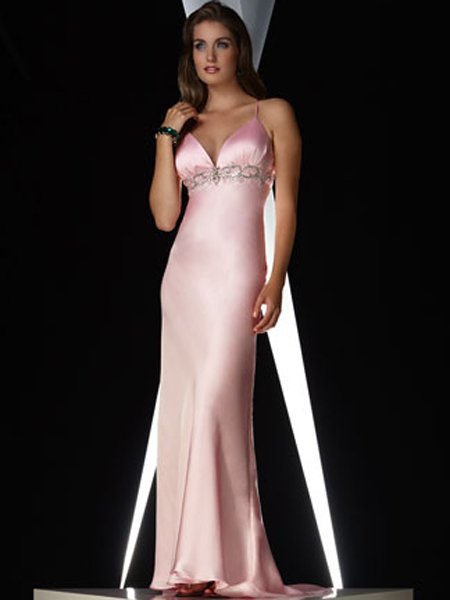 Elegant Pink Spagetti Straps Beading Empire Waist Evening Dress Cocktail Prom Bridesmaid Wedding