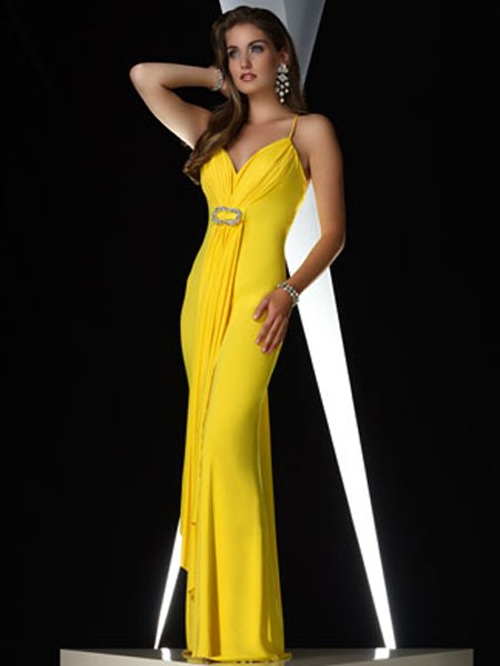 Hot Sale Elegant Yellow Spagetti Straps Beading Evening Dress Cocktail Prom Bridesmaid Wedding