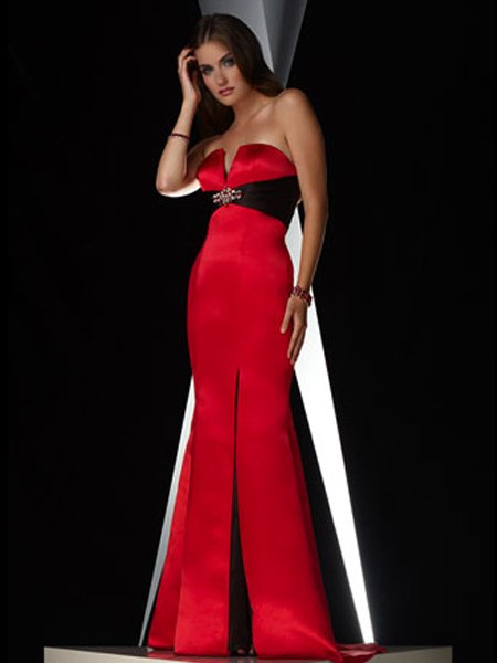 Elegant Red Strapless Beading Empire Waist Evening Dress Cocktail Prom Bridesmaid Wedding