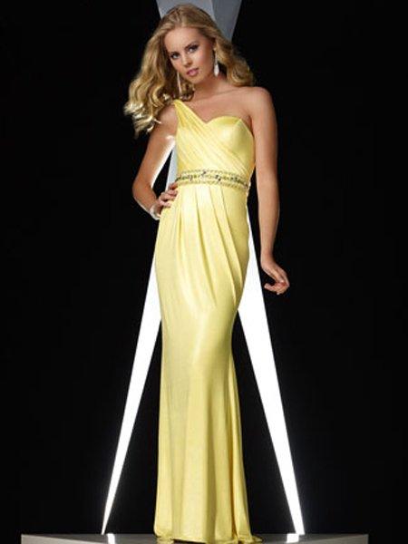 Elegant Daffodil One Strap Ruffles Rhinestone Evening Dress Cocktail Prom Bridesmaid Wedding