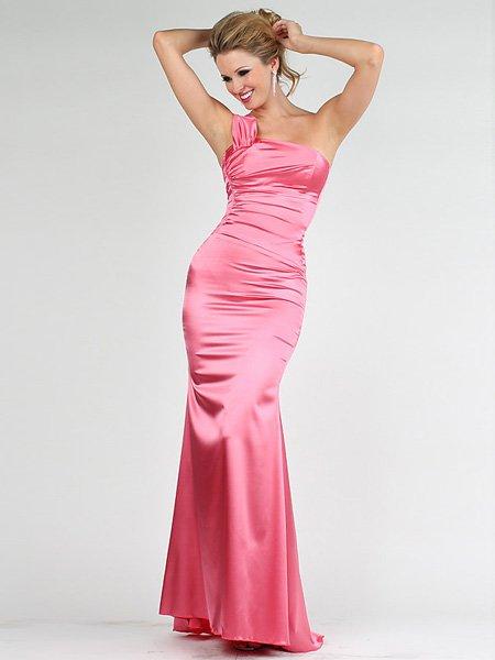 Elegant Pink One Shoulder Tube Top Evening Dress Cocktail Prom Bridesmaid Wedding