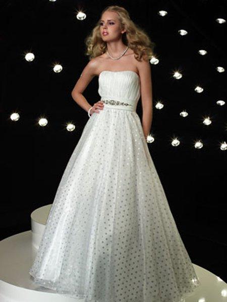 Custom- Strapless Beading Sequins Empire Waist Ruffles Ball Gown Cocktail Prom Bridesmaid Wedding
