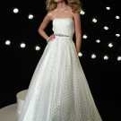 Custom- Strapless Beading Sequins Empire Waist Ruffles Ball Gown Cocktail Prom Bridesmaid Wedding