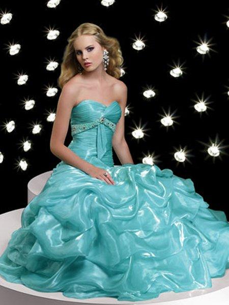 Elegant Hunter Sweetheart Strapless Empire Waist Ball Gown Dress Cocktail Prom Bridesmaid Wedding