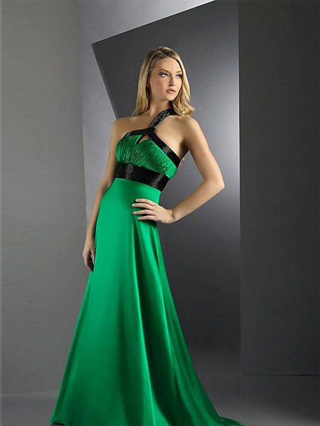 Hot Sale Elegant Green One Shoulder Pleated Evening Dress Cocktail Prom Bridesmaid Wedding