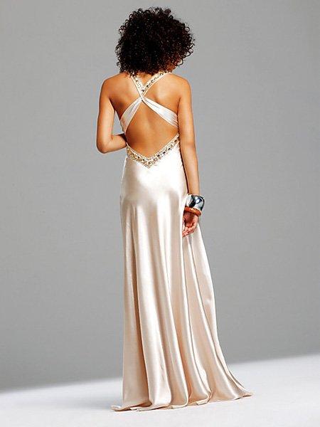 Ivory Cross Straps V Neck Evening Dress Formal Cocktail Prom Bridesmaid Wedding