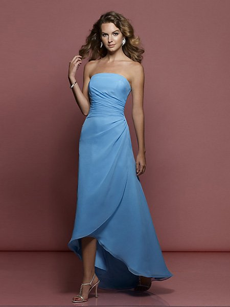 Hot Sale Elegant Light Blue Strapless Tube Top Evening Dress Cocktail Prom Bridesmaid Wedding