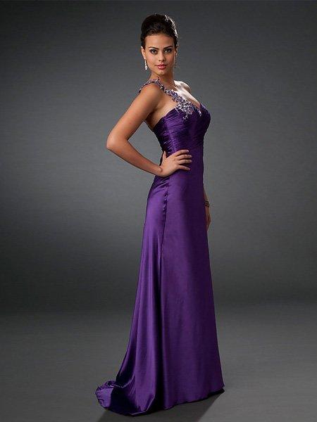 Hot Sale Elegant Purple One Shoulder Sweetheart Evening Dress Cocktail Prom Bridesmaid Wedding