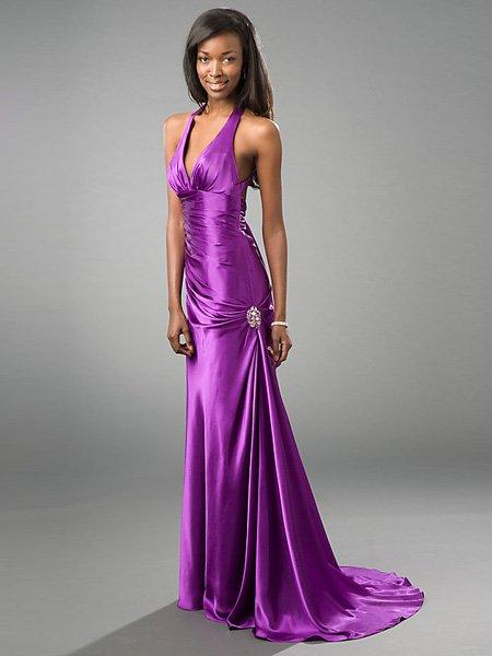 Hot Sale Elegant Purple Halter V Neck Evening Dress Cocktail Prom Bridesmaid Wedding