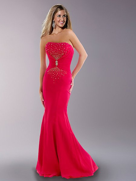 Hot Sale Elegant Fuchsia Strapless Tube Top Evening Dress Cocktail Prom Bridesmaid Wedding