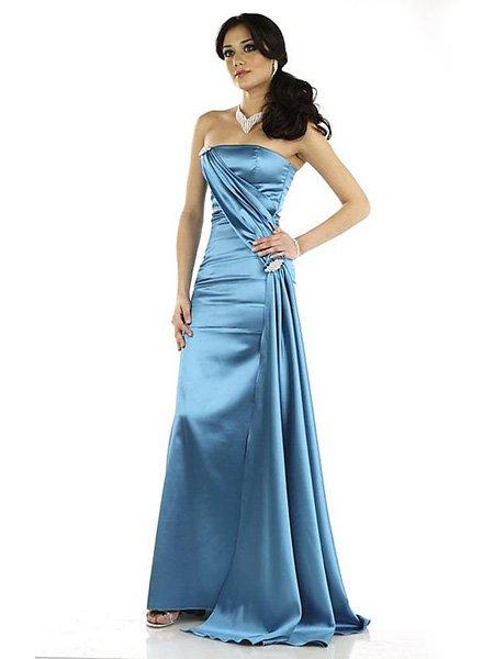 Hot Sale Elegant Light Blue Strapless Tube Top Evening Dress Formal Cocktail Prom Bridesmaid Wedding
