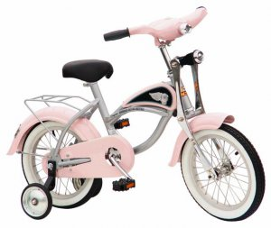 "Morgan Cycle Girls Pink Bicycle W Training Wheels & Headlight 14"" Ride on Steel Toy"