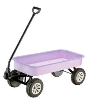 Girls Toy Metal Wagon Lavender Stamped Steel Body & Frame