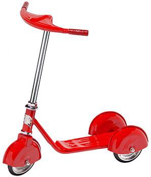 Red Steel Scooter 3 wheels Stands up Right With Adj Handlebar Girls Ride on Toy
